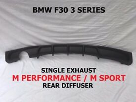 BMW F30 F31 3 Series M SPORT PERFORMANCE Rear Bumper Diffuser SINGLE EXHAUST