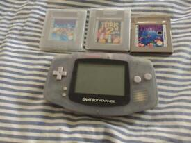 Excellent condition GAME BOY advance in clear with x3 games