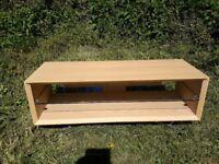 TV Unit. Solid light oak. Chrome legs