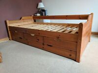 Pine Single Bed With Storage