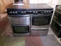 NEWWORLD DUAL FUEL RANGE COOKER 110CM WIDTH STAINLESS STEEL COLOUR