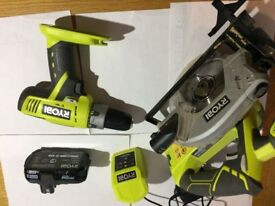 Ryobi cordless power tools. 18v drill with hammer function Cordless skill saw 1 battery and charger.