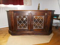 TV Cabinet in Pine and with Leaded windows only £35