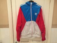 Adidas Jacket, Top, Waterproof, White, Red, Blue, Size L