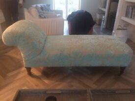 Beautiful Antique Chaise Longue in Designers Guild Turquoise Velvet with Indigo Linen Loose Cover