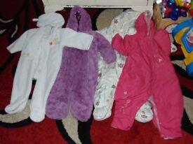 bundle job lot of baby girls snowsuits four 6-9 months