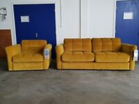 BRAND NEW YELLOW FABRIC / VELVET SOFA BED INCLUDING BRAND NEW MATTRESS ARMCHAIR & STORAGE FOOTSTOOL
