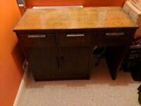Oak desk with 3 drawers 2 cupboards