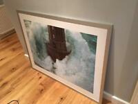 Large IKEA wall art- framed lighthouse print. Nautical theme.