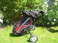 WILD THING MENS LEFT HAND GOLF CLUBS IN BAG WITH TROLLEY