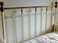 King size 5 foot bed with white headboard