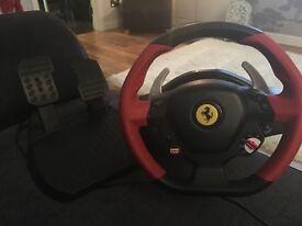 Ferrari thrust master steering wheel and foot pedal