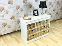 Cabinet White Chest 5 Drawer Living Room Hallway Storage Unit Large Bedroom Unit