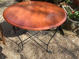 Round Wooden Top Table with Wrought Iron Legs