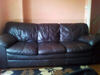 Genuine Brown leathered sofa in excellent condition