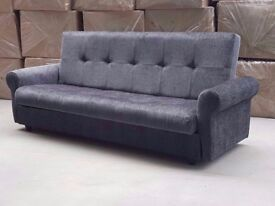 ⚫🔴🔘🔵FULL ITALIAN DESI LARGE CLICK CLACK SOFA BED🔘🔵 FABRIC WITH STORAGE 3 SEATER AVAILABLE NOW
