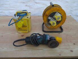 Makita grinder, transformer, and extension reel .