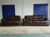 MODERN DARK BROWN LEATHER SOFAS SET 3 SEATER SOFA & 2 SEATER SUITE / SETTEE DELIVERY AVAILABLE