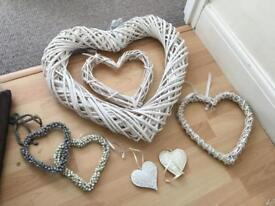 Selection of Wicker heart hanging decorations