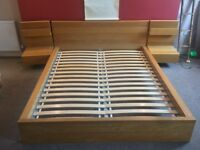 King size IKEA Malm bed frame with two matching side drawers