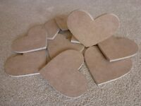10 x MDF wooden Hearts..Ideal for arts and Crafts