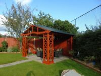 Large Wooden Gazebo / Hot Tub House with Metal Roof