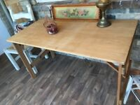 Vintage Stripped Pine Folding table Desk Industrial Retro Chic