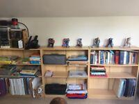 Light wood effect bookshelves