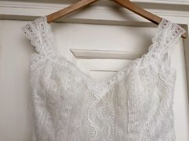 Brand new ivory lace corset back designer dress (never worn)