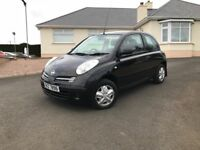 2005 Nissan Micra 3 door in black with only 54k miles motd excellent condition ideal second car