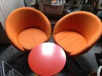 Two Retro Ikea Skruvsta Swivel Chairs and table