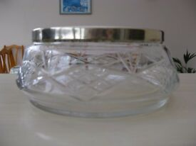 Vintage Crystal fruit bowl with silver plated rim.