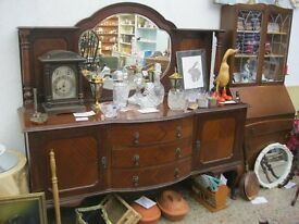 VINTAGE ORNATE BOW FRONTED, MIRROR BACKED SIDEBOARD. VIEWING & DELIVERY AVAILABLE