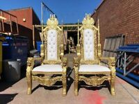 2x BRAND New Lion King Throne Chairs (180cm) - Gold Asian Wedding Luxury French Italian Furniture