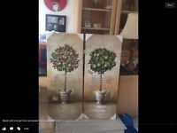 Large new apple and orange tree canvasses