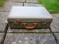Vintage Suitcase -dog tooth check - metal fasteners -clean inside - good condition
