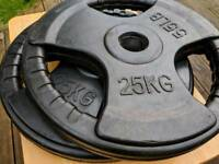 25kg olympic weight plates (pair) tri grip with rubber coating