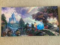 DISNEY CINDERELLA WISHES UPON A DREAM BOXED CANVAS BY THOMAS KINKADE
