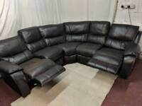 Brown leather manual recliner corner sofa good condition