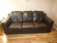 Dark brown leather 3 seater sofa and 2 chairs