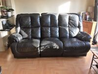 Luxurious black soft leather 3 seater reclining sofa