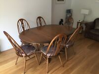 Ercol Extendable Dining Table and 6 Swan Chairs + Hi-Fi Cabinet - in Golden Dawn