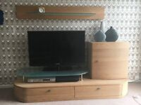 Quality solid oak TV stand from housing units