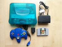 NINTENDO N64 ICE BLUE CONSOLE & BLUE CONTROLLER COMPLETE + BODY HARVEST