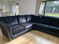7 seater black velvet , luxury sofa