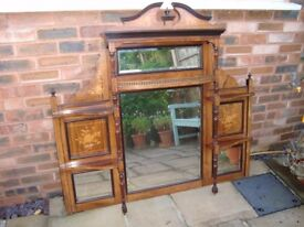 A Victorian or Edwardian Over mantle in Rosewood with Inlay