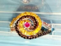 """""""INDIAN RING"""" WITH DIAMONDS AND RUBIES, 1 GRAMS , SIZE 8"""