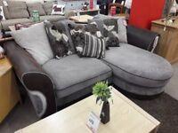Two Tone Brown Fabric L Shaped Corner Sofa