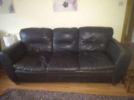Chocolate leather suite 4 piece £100