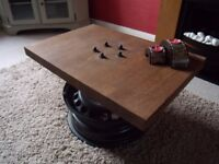 Industrial Coffee/Side Table in Solid Oak. Car Furniture/Upcycling. Great Quality